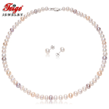 Genuine Natural Freshwater Pearl Jewelry Sets For Women's 7-8mm Pearls Necklace Set 925 Silver Earrings Fine Jewelry недорого