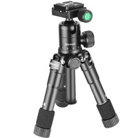 Tüketici Elektroniği'ten Üç Ayaklar'de Neewer M225 + CK30 Taşınabilir Alüminyum Tripod Kompakt Masaüstü Masa Tripod Ballhead ile Sony Canon Nikon DSLR Kamera Için selfie