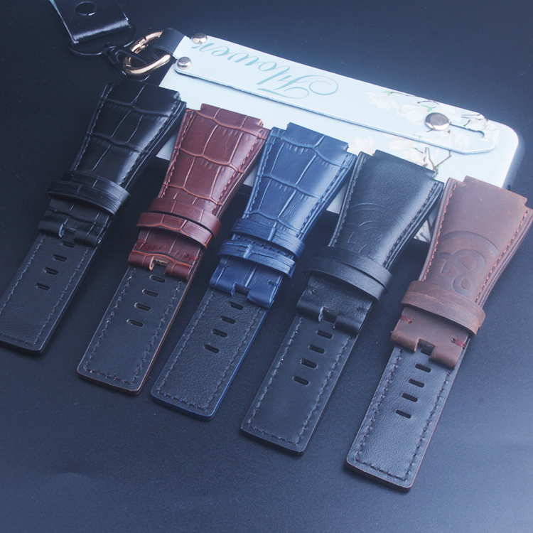 Black Brown Blue Alligator Pattern Leather Watch Band Strap For Bell & Ross BR-01 And BR-03 Black Buckle