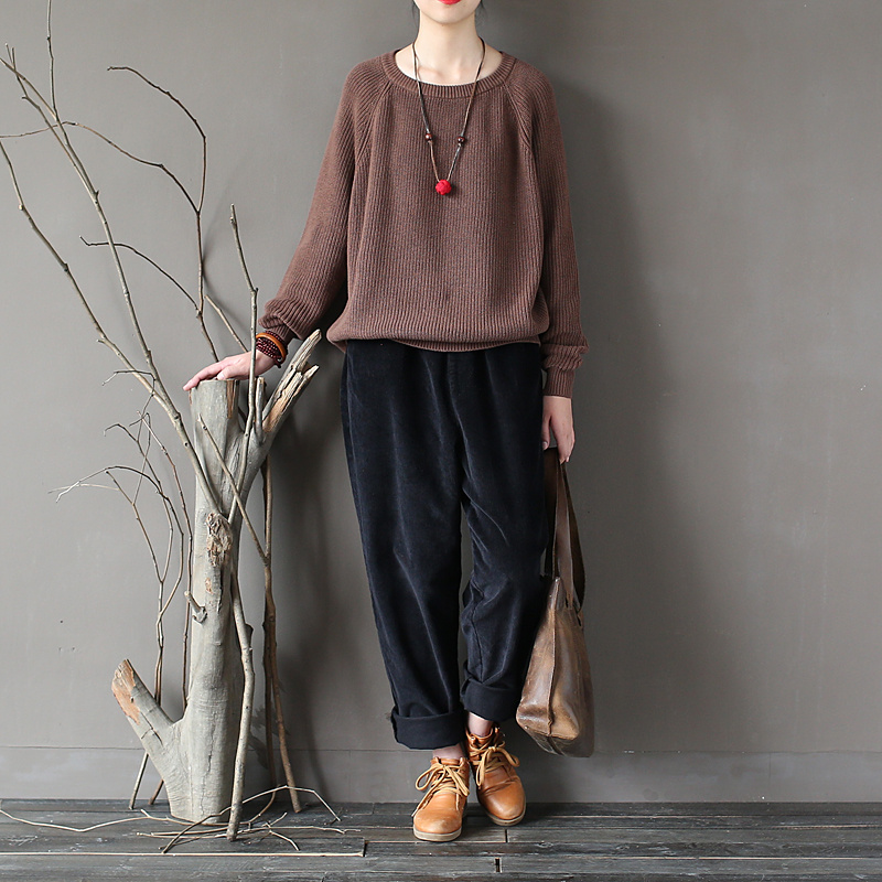 Warm Winter Casual Blue Loose 2017 Pullovers brown Black Sweater Autumn green purple navy red O neck Women Solid Cotton Knitted Female BIzqzrw5