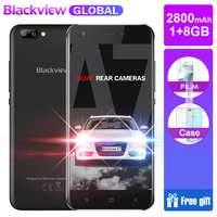 Blackview A7 Mobile Phone Android 7.0 MTK6580A Quad Core 5.0 1GB 8GB 3 Cameras 3G WCDMA 2800mAh Dual SIM Smartphone