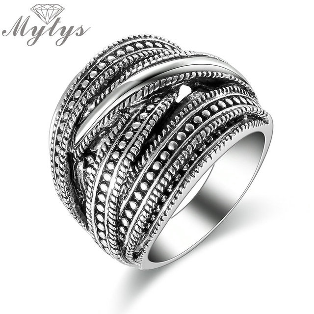 Mytys New Design Antique Jewelry Chunky Big Ring Retro Style Dark Grey Metro Pun
