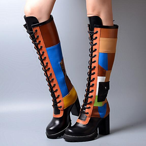 2017 multi color Women knee Boots Thick High Heels Office Brand Shoes Woman Winter round Toe knee-high Motorcycle Booties ancient greek lace up leather suede knee high women boots round toe thick high heels fashion woman motorcycle boots shoes women