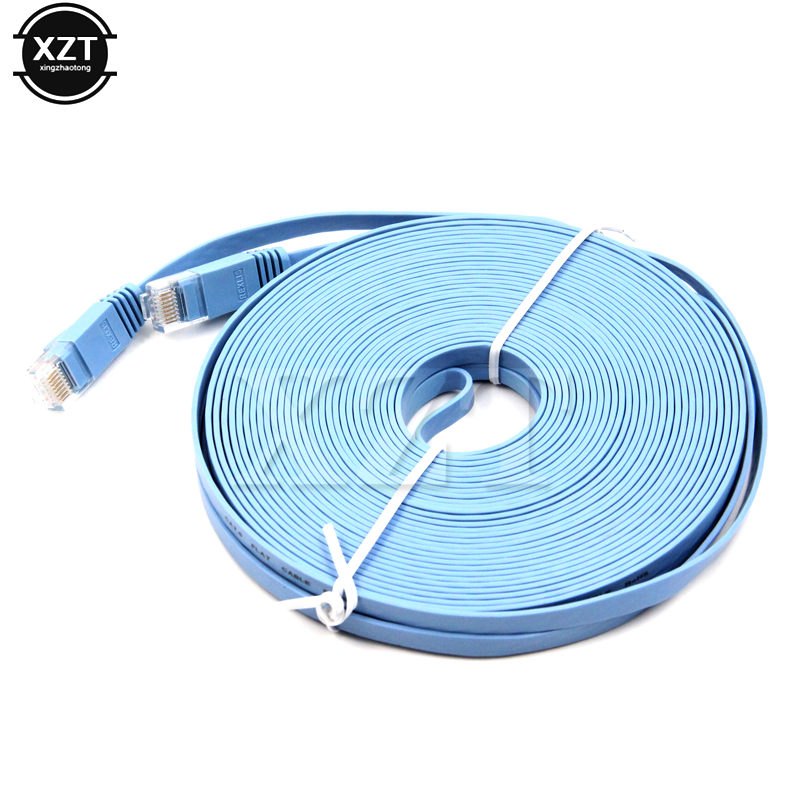 50FT RJ45 CAT6 HIGH SPEED ETHERNET LAN NETWORK Flat Blue PATCH CABLE PC Router