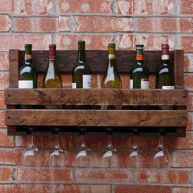 Weinregal Holz Bar Wand Wein Kreative Retro Holz Wand Rack Wand ...