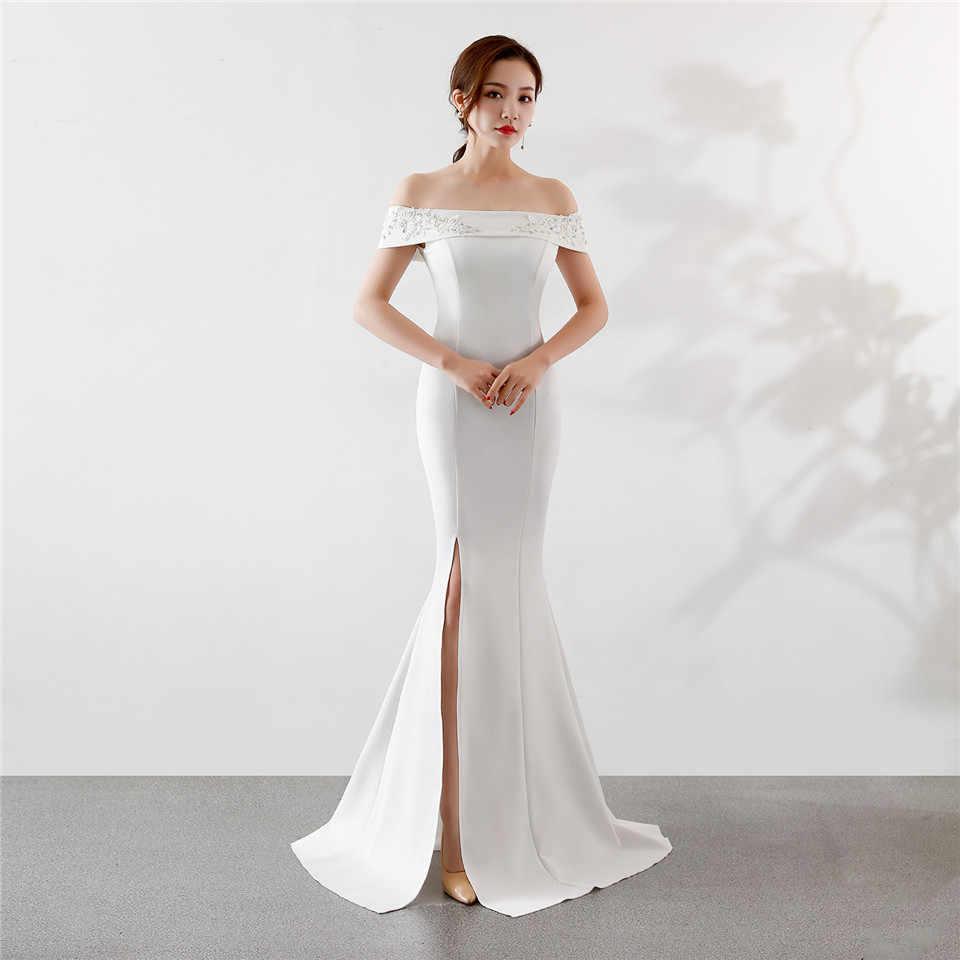 זה Yiiya בת ים שמלת ערב ציפר חזור רויאל כחול לבן שחור שמלות צד באורך רצפת תחרה ארוך שמלות נשף c097
