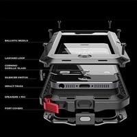 Luxury Doom Armor Dirt Shock Waterproof Metal Aluminum Cell Phone Case For Iphone 5 5s Tempered