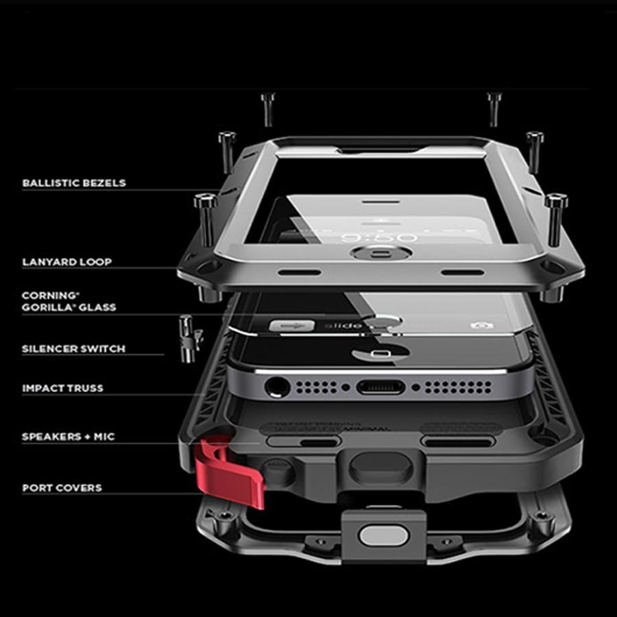 Luxury Doom armor Dirt Shock Weatherproof Metal alloy cell phone case For iphone 5 5s SE