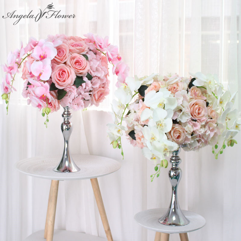 Us 9 32 41 Off 40cm 50cm Table Centerpieces Ball Decor Diy Wedding Backdrop Artificial Flower Ball Orchid Rose Peony Silk Floral Artificials In