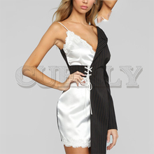 CUERLY Sexy one shoulder satin short women dress Striped lace summer patchwork dresses Elegant celebrity party de fiesta