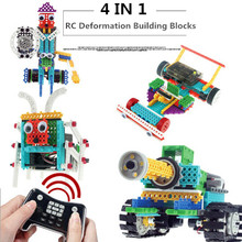Compatible Building Block Sets DIY 4in1 Remote Control RC Vehicle Assembling Transformer Action Robot Boy Toys For Children(China)