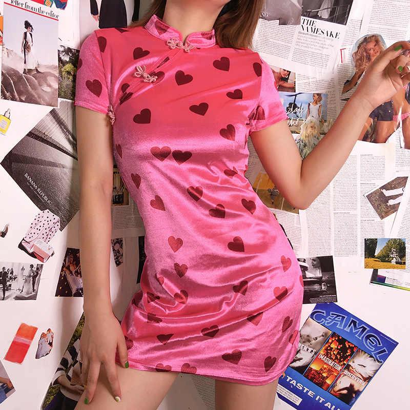2019 летнее обтягивающее карандаш с коротким рукавом розовое платье Чонсам Vestidos китайский стиль воротник печати бархатное Мини платье для женщин