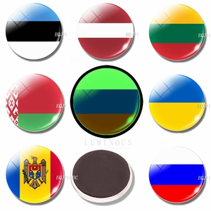 Luminous Flag 30 MM Glass Refrigerator Magnet Fridge Magnets Flag Estonia Latvia Lithuania Belarus Russia Ukraine Moldova(China)