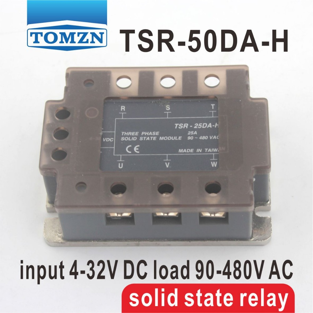 50DA TSR-50DA-H Three-phase High voltage type SSR input 4-32V DC load 90-480V AC single phase AC solid state relay normally open single phase solid state relay ssr mgr 1 d48120 120a control dc ac 24 480v