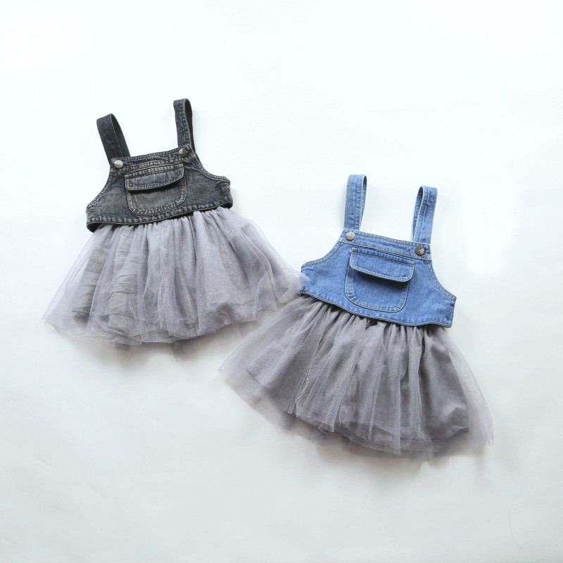 summer dress new baby girls dress newborn girls tutu dress denim baby clothes mesh patch ...