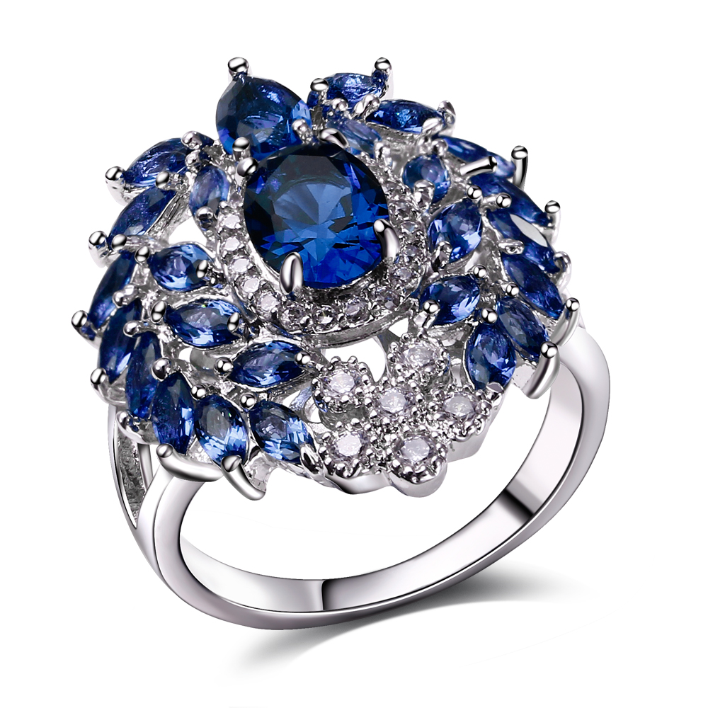 Fashion Rings rhodium plated with cubic zircon finger Ring high quality Party rings for women Free