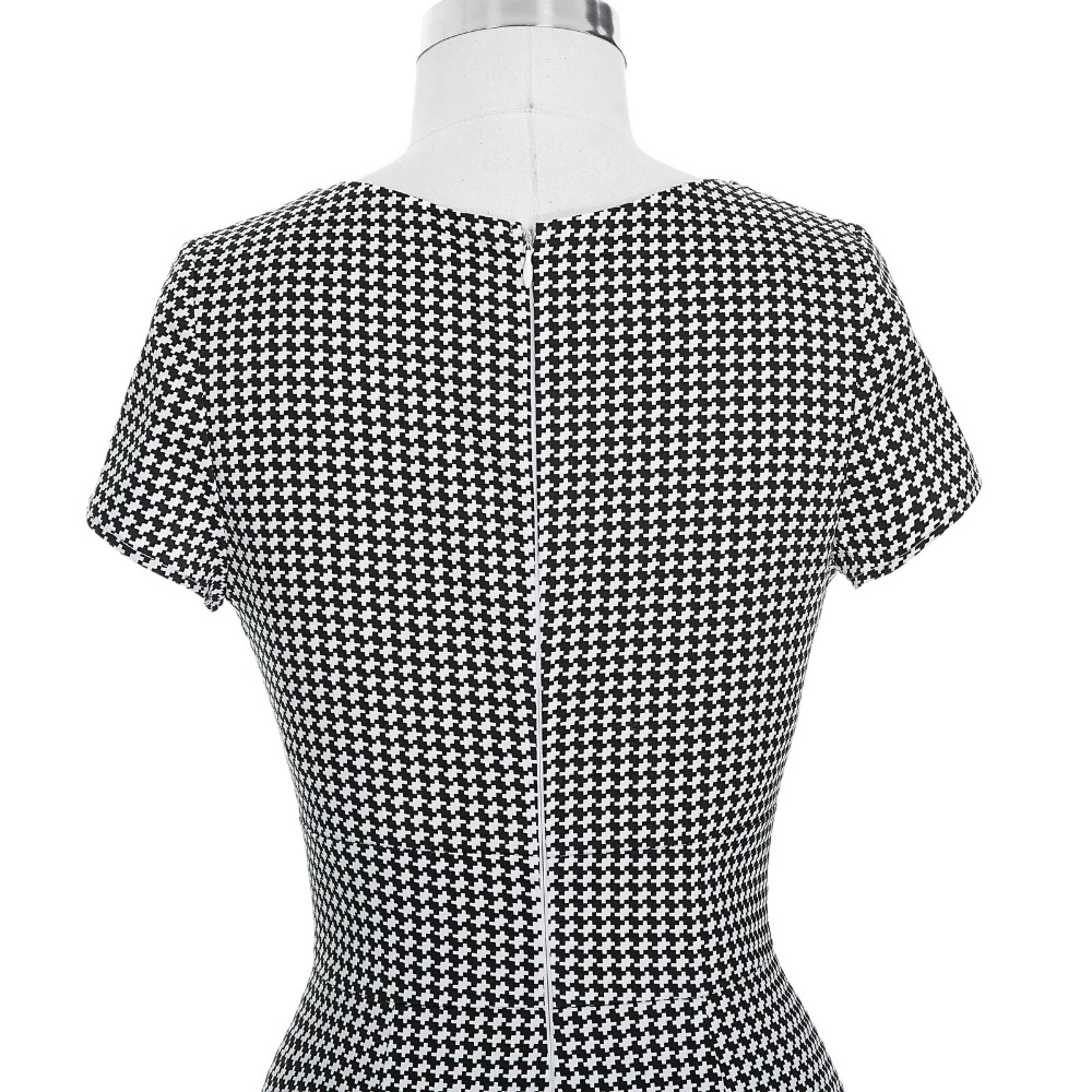 Autumn Houndstooth Bow Vestidos Pin Up 1950s 60s Rockabilly Style Retro  Robe Vintage Casual Party Plus Size Mermaid Dress Sleeve-in Dresses from  Women s ... e26f41e4bb71