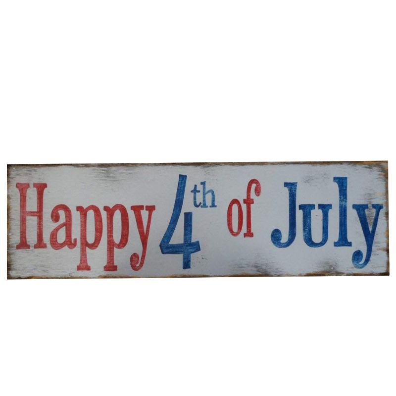 Image 3 - Rustic Wooden Happy 4th Of July Sign Plaque Independence Day Collection Gift Home Decoration-in Plaques & Signs from Home & Garden