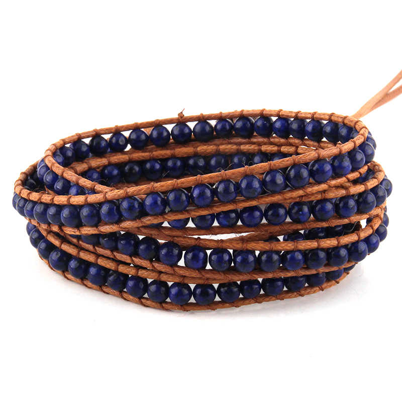 Moda kobiety biżuteria brązowy pasek ze skóry ręcznie robione 5 nici 4mm naturalne kamienie bransoletki DropShippers