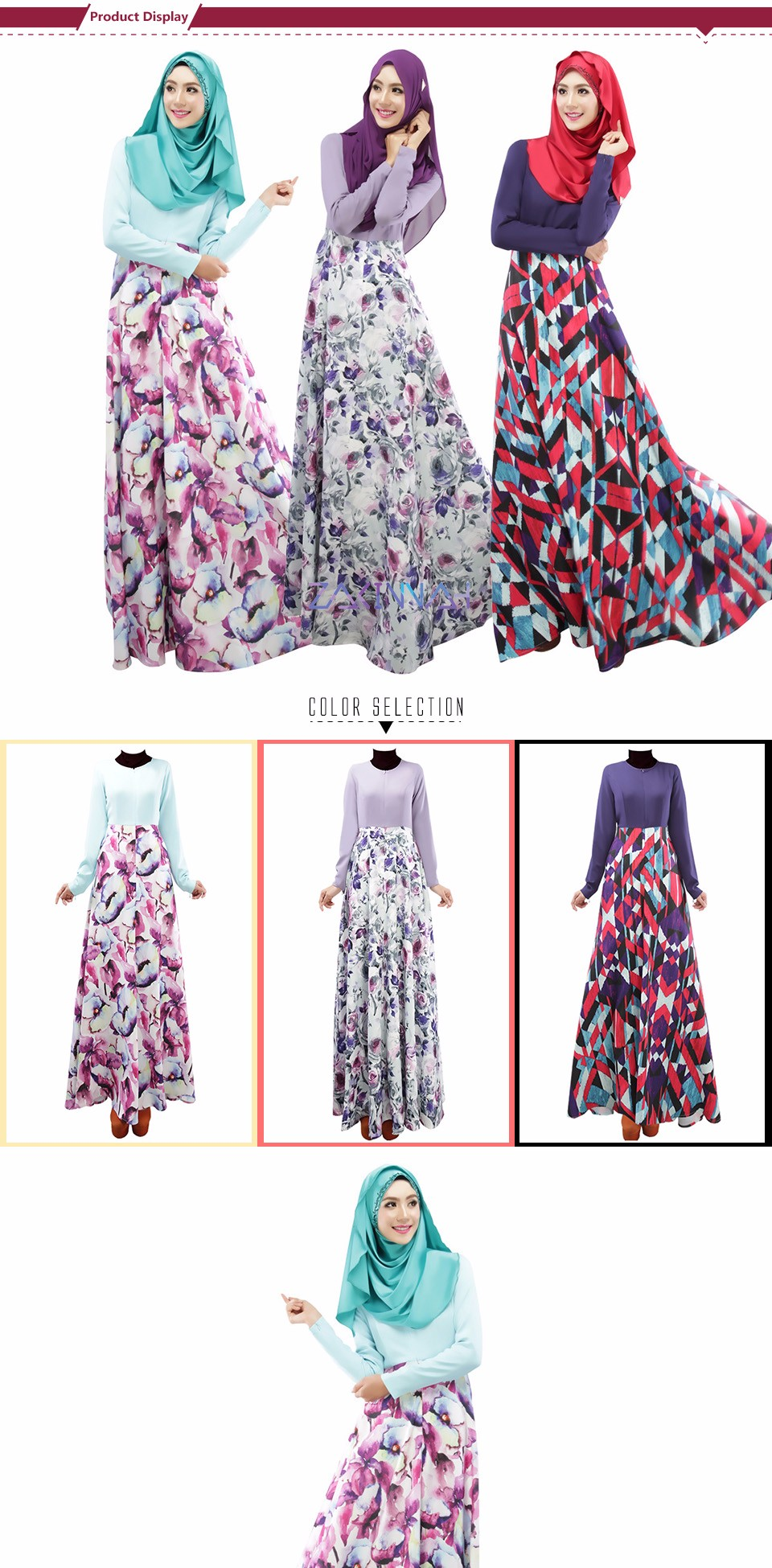 New style ladies two color spliced caftan