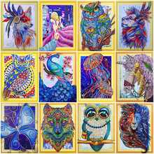 HUACAN 5D DIY Special Shaped Diamond Painting Cross stitch Embroidery Animals Picture Of Rhinestones Home Decor 40x50cm