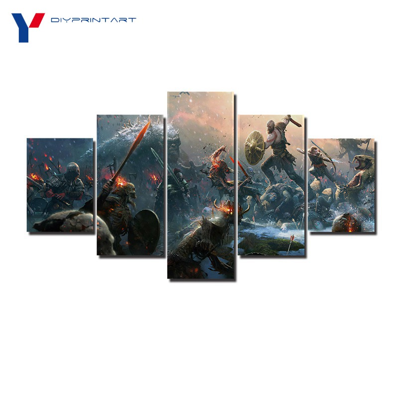 God of War Battle Kratos 5 Pieces Game Poster Wall Decor Living Room Decoration A0141