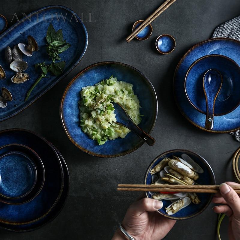 ANTOWALL Dim bleu vaisselle en céramique dîner ensemble bol vaisselle assiette Services ensemble porcelaine vaisselle