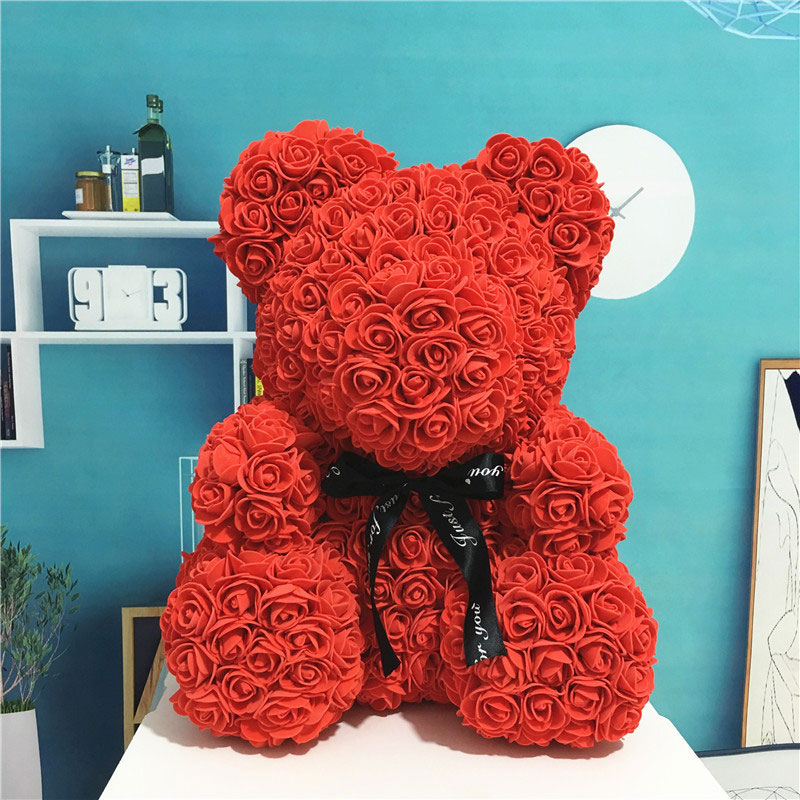 2020 24cm Rose Bear With Gift Box Gift Teddy Bear Foam Toys Rose Flower Artificial Valentines ...