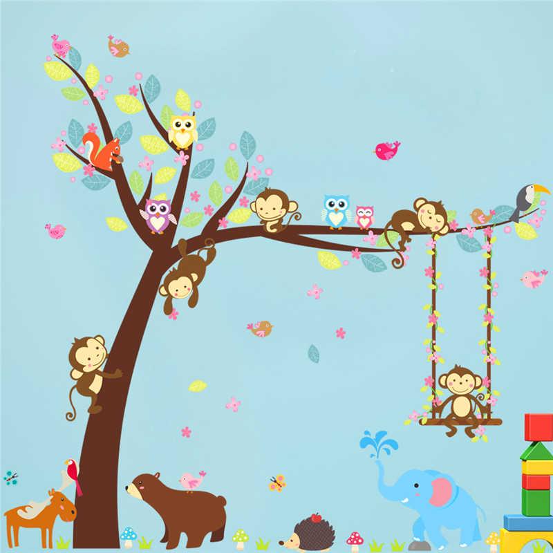 Cartoon 2pcs 104 116cm Forest Animals Swing Tree Wall Sticker For Kids Room Decor Bear Owl Monkey Wall Art Decals Diy Pvc Mural