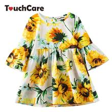 ef2178967bd8 Girl Flare Sleeve Dress Children Summer Floral Princess Dresses Pineapple  Sunflower Print Casual Costume 3-6Y Girl's Clothes