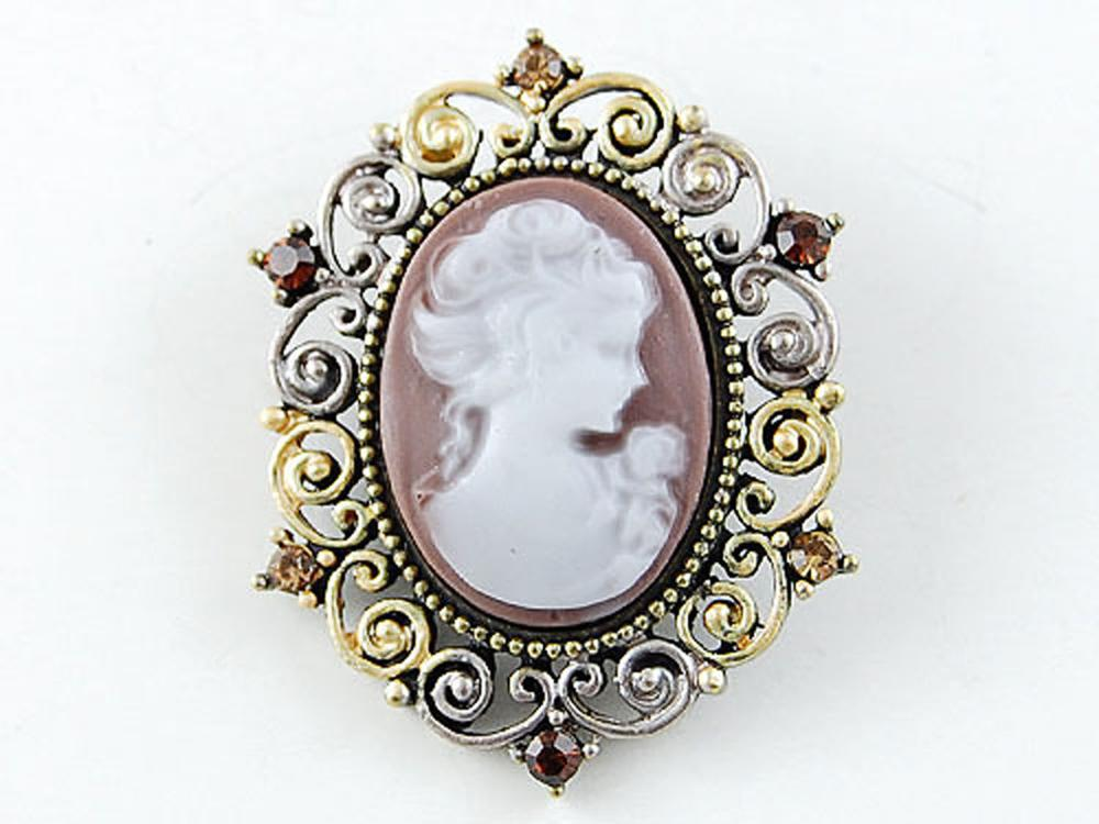 Victorian Inspired Brown Brass Tone Cameo Crystal Rhinestone Fashion Brooch Pin US Stock