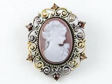 Victorian Inspired Brown Brass Tone Cameo Crystal Rhinestone Fashion Brooch Pin [US Stock]