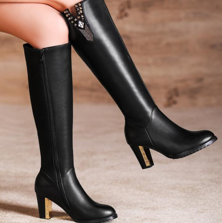 Women Winter Genuine Leather Thick High Heel Long Boots Lady Spring Autumn Side Zipper Knee High Boots Plus Size 34-45 SXQ1006