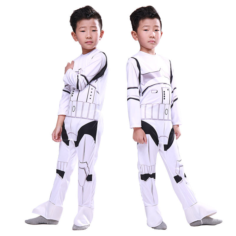Movie Star Wars Costumes Imperial Stormtrooper Cosplay Halloween boy Costumes Children's jumpsuit to play clothes Free mask
