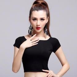 2017 Горячая леди для латинских танцев топы без включают юбки черный Цвет короткий рукав укороченный топ Roupa De Ginastica Salsa Samba костюм