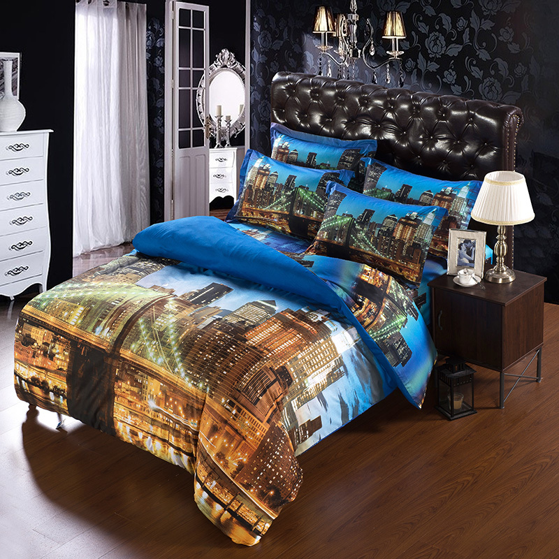 4PCS  SET Modern Unique city duvet cover double size