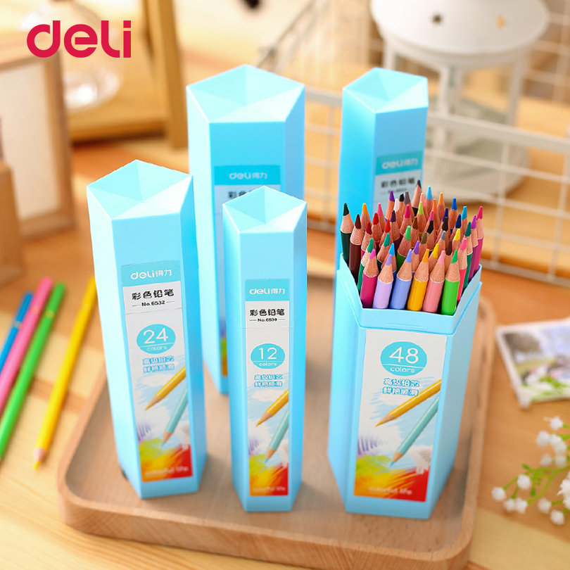 2017 Deli 12/18/24/36/48 Colors Pencil Sets School Supplies Stationery Painting Drawing Colored Pencils Apices De Colores 40D654 marco raffine fine art colored pencils 24 36 48 colors drawing sketches mitsubishi colour pencil for school supplies