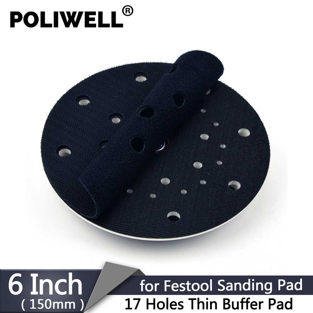 POLIWELL 1PCS 17 Holes Ultra Thin Festool Sanding Pad Interface Buffer Pad For Hook And Loop Sandpaper Abrasive Pad Protection