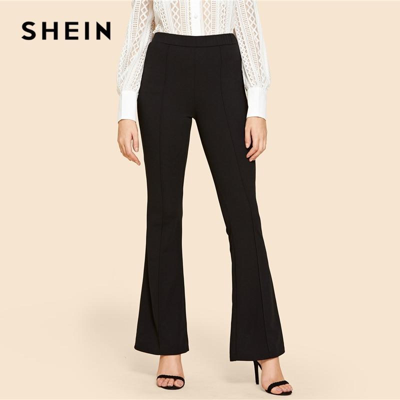 SHEIN Black Vintage Solid Contrast Binding Flare Leg Elastic Waist Elegant Pants Autumn Office Lady Workwear Women Trousers 2