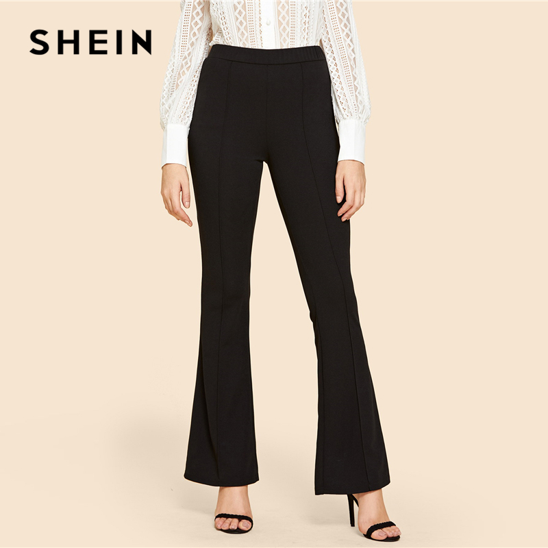 848ef93556 SHEIN Black Vintage Solid Contrast Binding Flare Leg Elastic Waist Elegant  Pants Autumn Office Lady Workwear Women Trousers-in Pants & Capris from  Women's ...