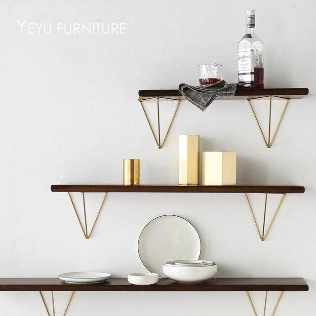moderne loft ontwerp wandmontage metalen en solid houten wandplank