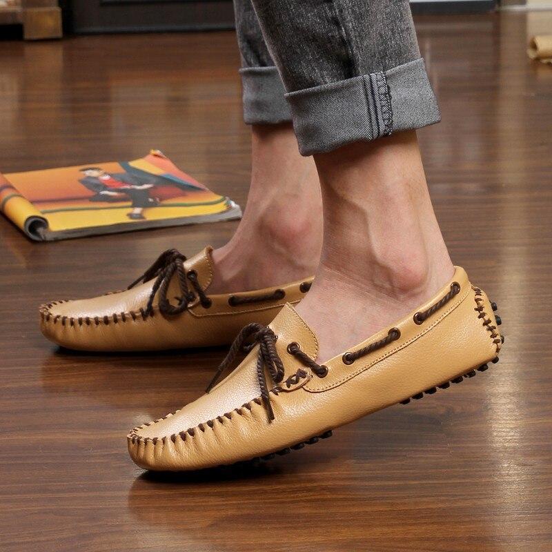Cuir Occasionnels jaune blanc Sur Hommes Glissement 2018 En Mocassins Mode Appartements Des Aa20241 Noir Fond Chaussures Mou Véritable atxa5gqT