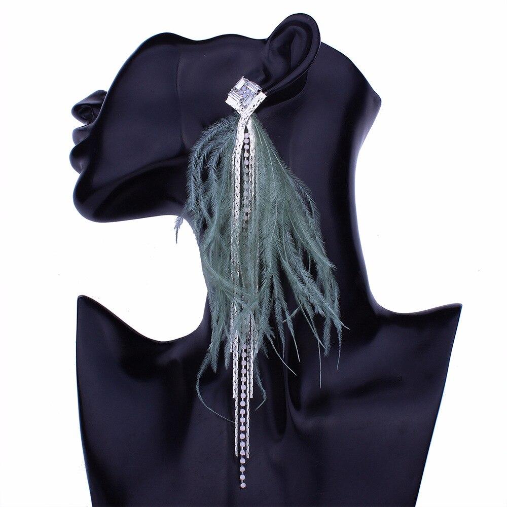 Bohemian Long Feather Earring For Women Big Statement Earrings Tassel Rhinestone Drop Earrings Dangle Earing Ethnic Jewelry