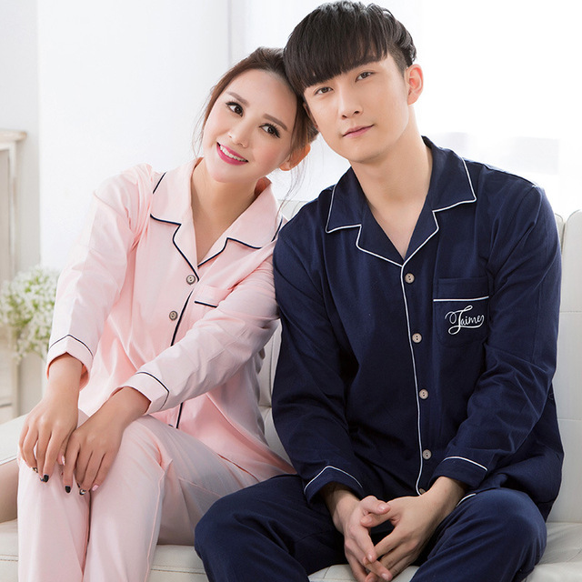 Nueva primavera caliente y otoño Par de manga larga pijamas de punto de algodón para hombres y mujeres pijamas mujer
