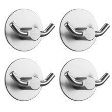 4-Packs Double Prong Robe Hooks Heavy Duty Coat Hook Retro Cloth Hanger Sus304 Stainless Steel Ultra Strong Waterproof Wall Ha