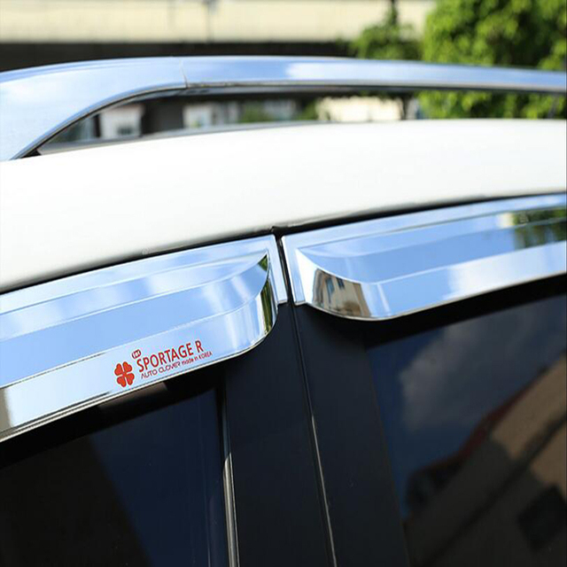 Стайлинга автомобилей Высокого Качества 24 Слоя ABS Chrome Окна Автомобиля Козырек дождь Щит Маркизы Приюты Для KIA Sportage R Автозапчастей 4 ШТ.