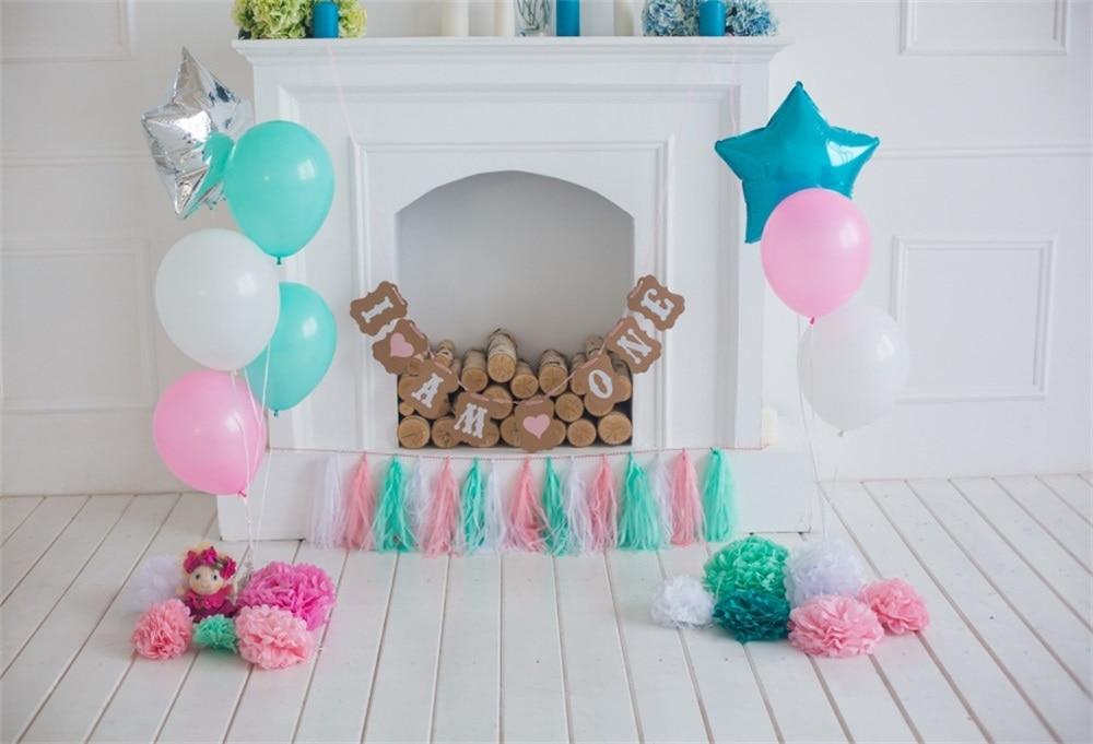 Laeacco Baby 1 Verjaardag Ballon Open Haard Houten Bord Speelgoed - Camera en foto
