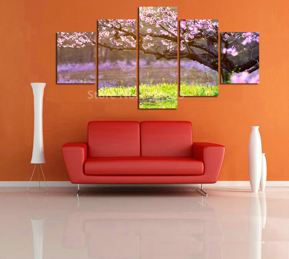 5 Panel Home Decorative Painting Mural Art Canvas Painting Hd Full Oriental Cherry Tree For Living