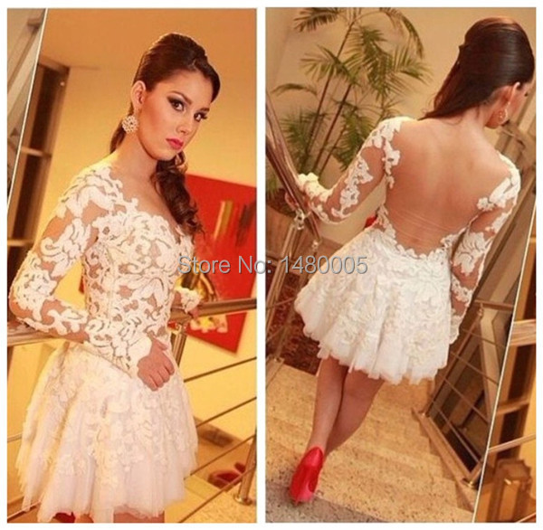 Aliexpress.com : Buy Sexy Cute White Long Sleeve Prom Dress ...