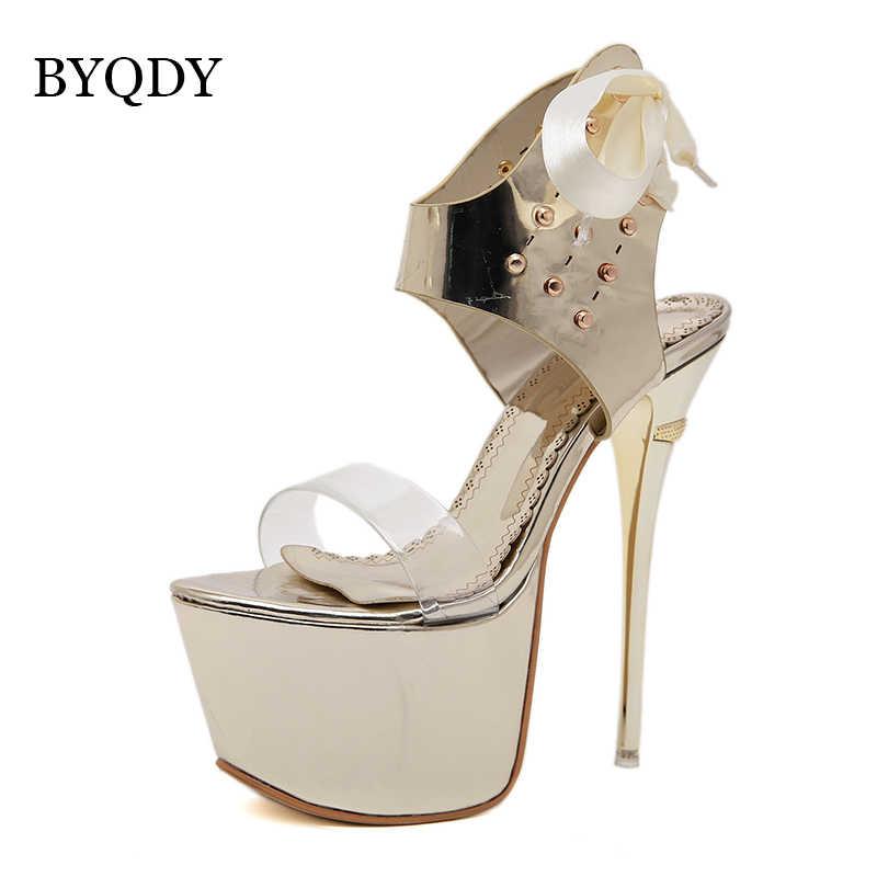 BYQDY Yaz Seksi Peep Toe Stripper Topuklar Kadın Parti Ultra Yüksek Topuklu 16 cm Bayanlar Ayak Bileği Kayışı platform sandaletler Gümüş Ayakkabı